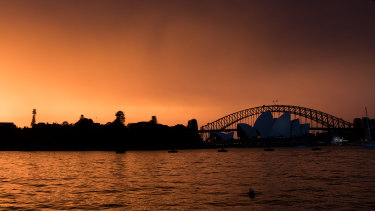 A storm in Sydney's west provides a spectacular city sunset.