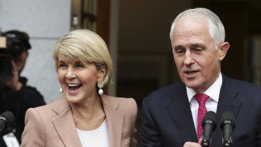 Deputy Liberal leader Julie Bishop and Prime Minister Malcolm Turnbull speak to the media on Tuesday after the challenge.