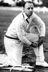 Don Bradman pictured at training in Adelaide in 1948.