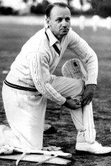 """Rundown"": Don Bradman padding up for his practice knock in Adelaide in 1946."
