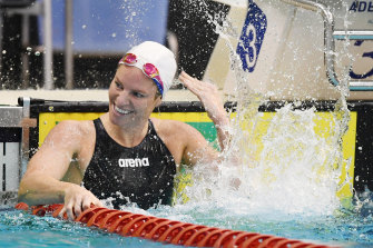 Emily Seebohm finished in second place in a time of 58.59s.