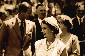 Queen Elizabeth II and Prince Philip during the royal visit to Australia in 1954.