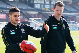 Grimes walks laps at Punt Road with Dion Prestia.