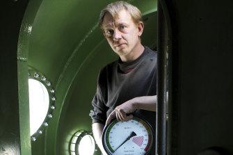 Submarine builder Peter Madsen in his vessel in 2008.