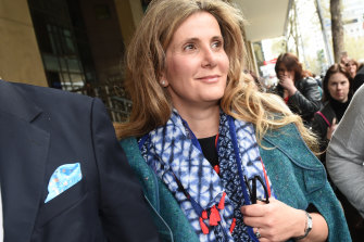Kathy Jackson leaving Melbourne Magistrates Court in October.