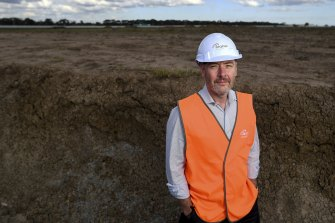 Stephen Marlow, general manager of Seqirus, at what he hopes will be Victoria's future mRNA vaccine production site in Tullamarine.