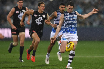 Best on ground: Top Cat Patrick Dangerfield has done his Brownlow chances no harm.