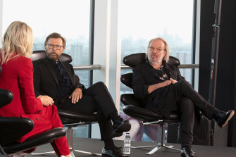 ABBA's Björn Ulvaeus and Benny Andersson at the London launch of Voyage this week.