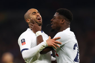 Lucas Moura (left) and Serge Aurier celebrate Moura's equaliser.