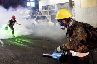 Protesters are bringing leaf blowers to ward off tear gas clouds in Portland, Oregon.