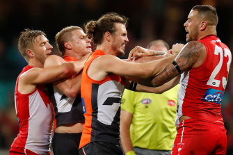 Lance Franklin and Phil Davis have not clashed since the 2018 finals. They meet again on Sunday.