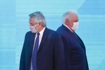 Argentine President Alberto Fernandez, left, and former health minister Gines Gonzalez Garcia.