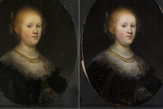 Photos taken before and after the painting's restoration.