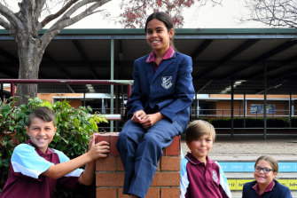 Students involved in the Yalaganj Initiative at Rosemeadow Public School.