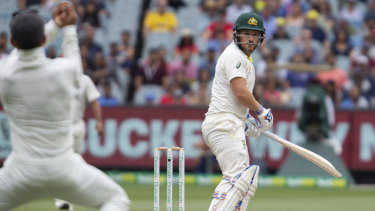 Pressure: Aaron Finch is under the pump for his place in the Australian XI for the Sydney Test.