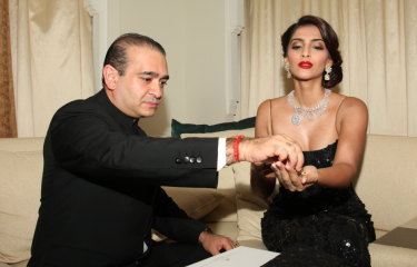 Bollywood star Sonam Kapoor with Nirav Modi at the launch of his jewellery collection in Dubai in 2011.