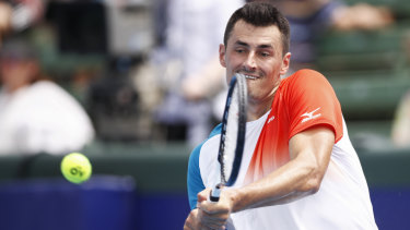Bernard Tomic in action at the Kooyong Open.