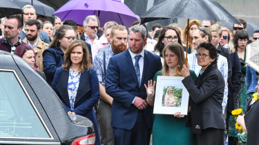 Hundreds turned out to remember Michaela Dunn who was killed during an alleged violent rampage in Sydney's CBD earlier this year.