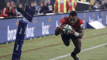 Prolific winger: Sevu Reece scores his side's first try in Christchurch.