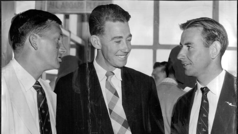 Australian captain Richie Benaud (left) with bowlers, Keith Slater (center) and Ian Meckiff (right), selected for the 3rd Test.