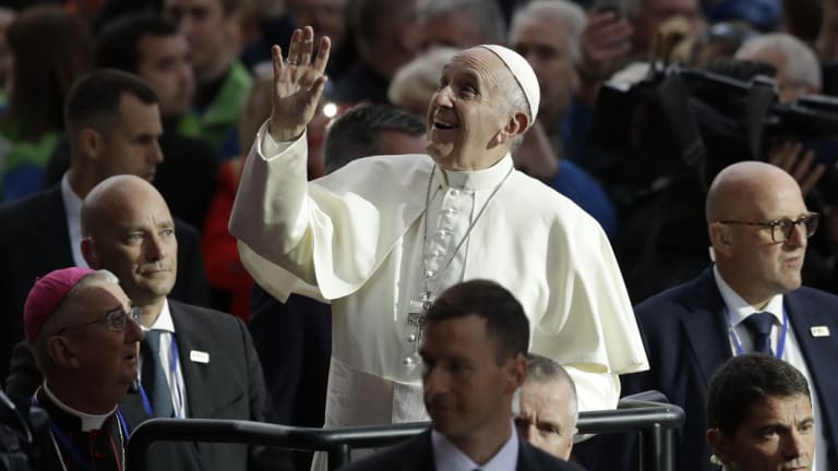 Pope Francis arrives at the Croke Park stadium for the Festival of Families, in Dublin, Ireland, on Saturday.