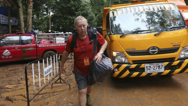 British Cave Rescue Council member Robert Charles Harper arrives in Mae Sai on Tuesday.
