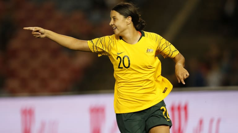 Sam Kerr celebrates her opener for the Matildas in Newcastle on Tuesday night.
