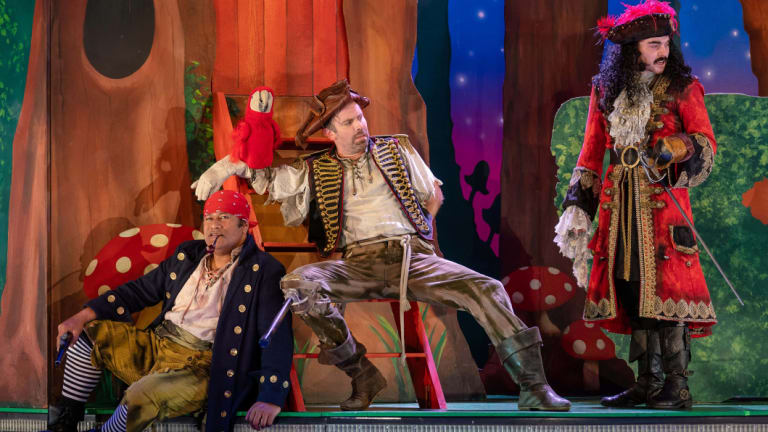 Jay Laga'aia, Luke Joslin and Connor Crawford in Peter Pan Goes Wrong.
