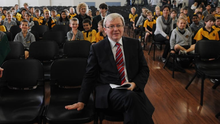 Kevin Rudd visits the assembly hall of Coorparoo State School in 2010, built as part of his government's school hall program.