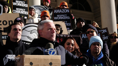 Protesters in New York rally against the arrival of a new Amazon headquarters in the city.
