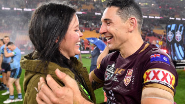 Fitting farewell: Billy Slater and his wife Nicole.