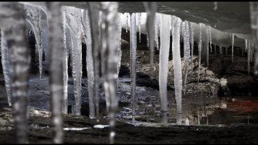 Ice stalactites.