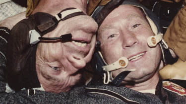 Alexei Leonov, right, in 1975 on the US-USSR Apollo-Soyuz Test Project pictured with US astronaut Donald Slayton.