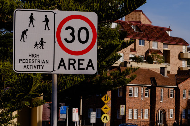 Manly has introduced 30km speed zones from the Manly Wharf in the south, through the town centre, along the beach front and up to the Queenscliff Bridge.