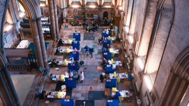 Twelve vaccination booths have been set up in the cathedral's transept..
