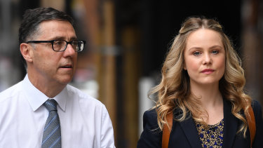 Eryn Jean Norvill and lawyer Leon Zwier arrive at the Federal Court on Friday.