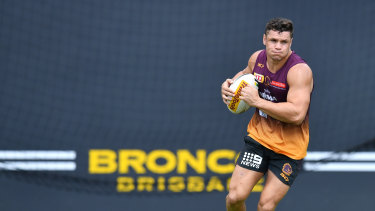 Undercover: NSW speedster James Roberts trains in Broncos colours.