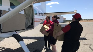 Coles flew in fresh produce for those stuck at the Caiguna roadhouse.