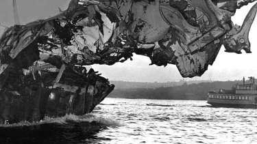The heavily damaged bow of H.M.A.S. Melbourne.