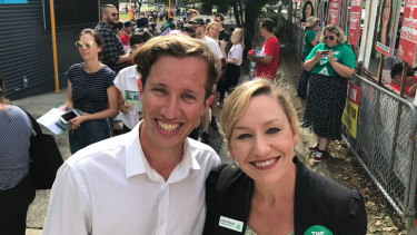 Greens Griffith candidate Max Chandler-Mather and Senate candidate Larissa Waters.