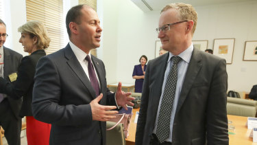 Treasurer Josh Frydenberg and RBA Governor Philip Lowe during a Business Growth Fund roundtable at Parliament House in December.