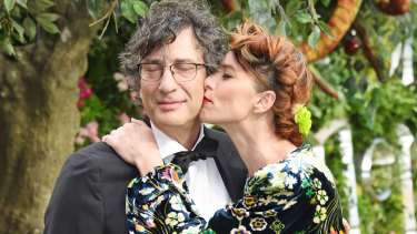 Neil Gaiman and Amanda Palmer at the premiere of Good Omens in London last year.