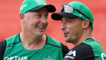 Dale Steyn (right) with Stars coach David Hussey.