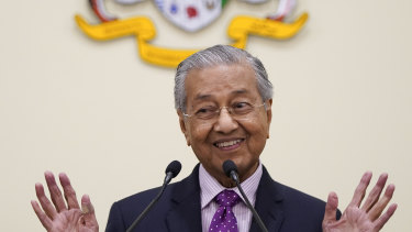 Malaysian interim leader Mahathir Mohamad speaks during a press conference in his office in Putrajaya, Malaysia.