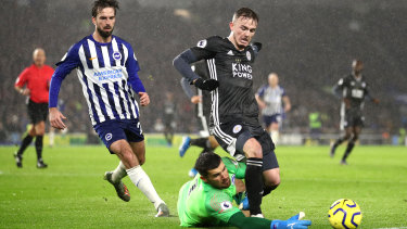 Socceroos goalkeeper Matthew Ryan of Brighton and Hove Albion reaches for the ball from James Maddison of Leicester.