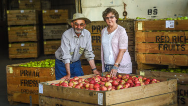 Rien Silverstein with husband Maurice at their farm in Orrvale.