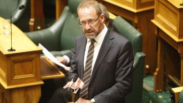 New Zealand Justice Minister Andrew Little speaks to legislators.