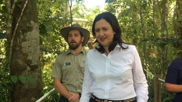 Premier Annastacia Palaszczuk visits the Skyrail tourist attraction in the Daintree Rainforest.