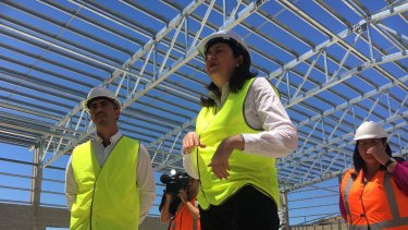 Queensland Premier Annastacia Palaszczuk visits the Smithfield State High construction site on Friday.