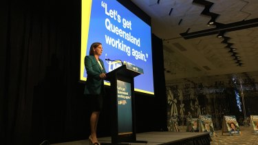 State LNP leader Deb Frecklington speaks at the party's official campaign launch in Brisbane on Sunday.